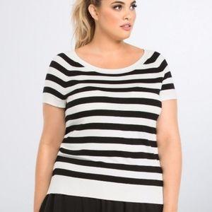 Torrid Black & White Striped Short Sleeved Sweater